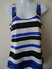Kim Kardashian Kollection Blue Black White Striped Satin Tank Top XS Small NEW