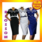 RK43 Vintage Sailor Pencil Cotton Dress Rockabilly Work Pin Up BLACK WHITE NAVY