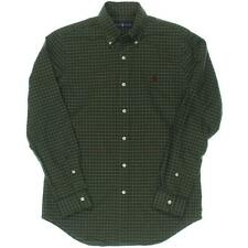 Ralph Lauren 1219 Mens Green Checkered Pleated Button-Down Shirt S BHFO