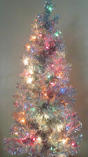 NIB Silver Aluminum Style 4 Ft Pre-Lit Tinsel Christmas Tree 110 Branches
