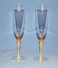Vintage Crystal Champagne Glasses w/ Frosted Amber Stem & Amber Ball - Set of 2
