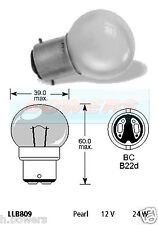 LUCAS LLB809 12V VOLT 24W BC B22D DOUBLE CONTACT PEARL LIGHT BULB BAYONET FIT