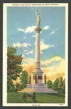 Ca 1939 POST CARD YORK PA SOLDIERS & SAILORS MONUMENT, MINT LINEN TYPE