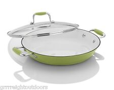 Fagor Michelle B.12 inch Cast Iron Lite Chef's Pan with Lid Lemon Lime 670041340