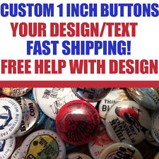 """50 Custom 1"""" inch Buttons Badges Pins Punk Indie Bands Rock Pinback 25mm"""