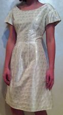 Couture LELA ROSE Silk Ivory Shimmer Silver Metallic Dress~Size 6~Beautiful!
