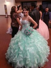 New Sequin Ball Gown Quinceanera Dress Aqua Sweetheart Organza Prom Gown custom
