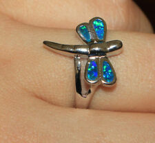 fire opal ring gemstone silver jewelry Sz 6 7 cocktail elegant Dragonfly design