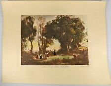 """Jean Baptiste Camille Corot Hand Colored & Signed Lithograph """"Dance of the Nymph"""