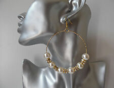 Gorgeous BIG faux pearl & diamante gold tone hoop drop / dangly earrings, 3.5""
