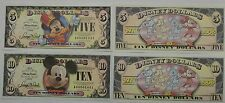 Disneyland 2008 Mickey 80th $5 Five $10 Ten Disney Dollar Mint Matched A00001443