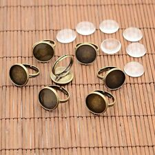 10Sets Retro Brass Ring Tray Cabochon settings Glass Cabochons Antique Bronze
