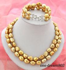 """2strands 8"""" 19"""" 13x15mm baroque golden freshwater pearl bracelet necklace"""