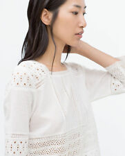 ZARA WOMAN LACE TOP M 36 38 BLUSE WEIß GUIPURE HAKEL EMBROIDERED