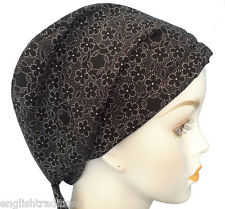 Cancer Chemo Hair Loss Alopecia Black & White Floral Head Cover Scarf Turban Hat