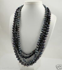 Multi-strand Black Freshwater Pearl Necklace Summer Wedding Party