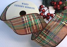 "LUXURY ""TARTAN CHRISTMAS"" WIRED RIBBON, WREATHS, TREES, BOWS & WRAPPING. 10yds"