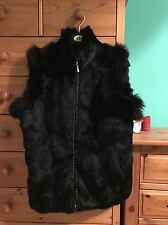 Genuine Real Black Fox & Rabbit Fur Gilet Vest Waistcoat 10 12