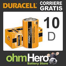 10 Pile DURACELL INDUSTRIAL Torcia / D / LR20 / LR 20 Pila Batteria Alcaline