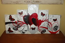 NEW 5 Pc Heart Butterflies Oil Painting Modern Art Wall Decor Canvas Pictures