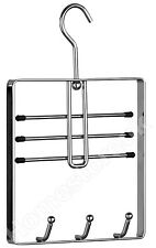 BELT TIE HANGER CHROME STORAGE HANGING HOOK DOOR WARDROBE CLOTHES SCARF RACK 681