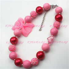 New Pink Bowknot 20mm Valentines chunky  Bubblegum Girl Necklace CB541