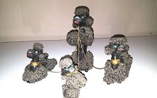 VINTAGE POODLES MOM AND (4)PUPPIES WITH SPAGHETTI TRIM MADE IN JAPAN FIGURINES