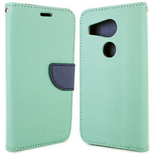 Teal & Navy Blue Wallet Cover Folio Case for LG Nexus 5X + Screen Protector