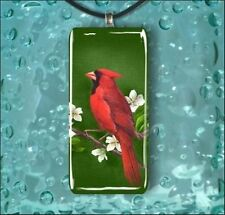 BIRD RED CARDINAL ON FLOWERED TREE GLASS NECKLACE -fgv6Z