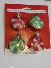 4 RED & GREEN CANDY ORNAMENTS MINI TREE CHRISTMAS DECORATION