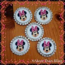 5 x 33MM MINNIE MOUSE FLAT BACK RHINESTONE TRIM HEADBAND BOW CENTRES CARD MAKING