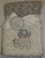 New Lollypop White Gray Elephant Rosette Swirls Patchwork Fleece Baby Blanket