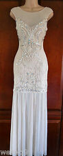 Lipsy VIP ASOS Embllished Lace Embroidered Sheer Hem Maxi  Wedding Dress NewSz14
