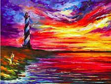 "Lighthouse — Palette Knife Oil Painting On Canvas By Leonid Afremov SIZE:30""x24"""