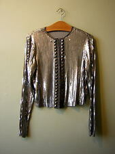 NEW LOOK LIMITED EDITION SILVER SEQUIN JACKET CARDIGAN UK 8