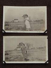 TWO WOMEN, ONE FAT, ONE SKINNY WITH PARASOLS BY THE BEACH Vintage 1920's  PHOTOS