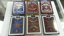 Bicycle Dragon Back Playing Cards 3 Decks Sealed Poker Red & Blue & Gold