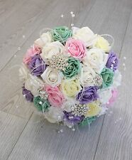 ARTIFICIAL BRIDE PASTEL RAINBOW FOAM ROSE BROOCH CRYSTAL WEDDING BOUQUET SPARKLY
