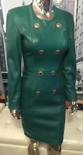Michael Hoban North Beach Vintage Green Military Sgt Pepper Leather Dress Sz 4