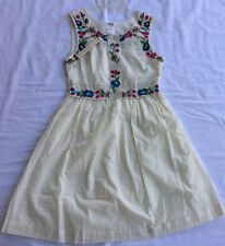 Esley Boutique 57021D-C Embroidered Floral Cotton Sun Dress Women's S Lined new