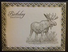 Handmade Stampin' Up Masculine Birthday Card Moose Wildlife - Combined Shipping