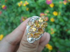 Natural Orangish Yellow CITRINE STERLING 925 SILVER BOLD & CHUNKY RING S8.25