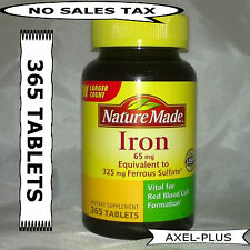 Nature Made Iron 65 mg - 365 Tablets Dietary Supplement  EXP 02/2019 NEW !