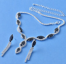 Black Cubic Zirconia 9k white gold filled Necklace+Earrings Set,NEW F5902