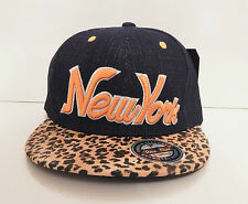 New mens women leopard denium snapback hat cap peak baseball NY New york logo