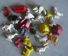 Lot of  Vintage Plastic Farm Animals and Some Other Figures  LOOK