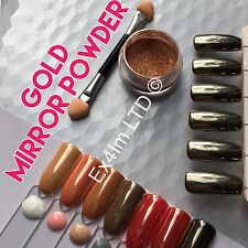 GOLD MIRROR POWDER CHROME EFFECT Pigment NAILS New Trend Transparent Dust UK (S)