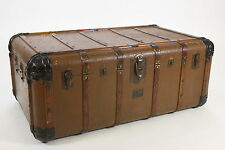 INDESTRUCTO Steamer Trunk Antique Case No C36262 Mishawaka Flat Top Coffee Table