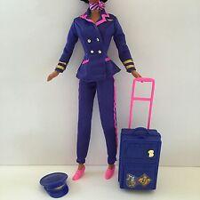 NEW BARBIE DOLL CLOTHES Pilot Uniform Jacket Pants Scarf Hat Shoes Luggage