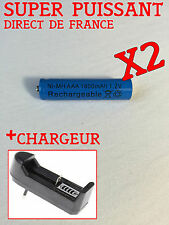 2 PILES RECHARGEABLE AAA 1800 mAh 1.2 V + CHARGEUR OFFERT